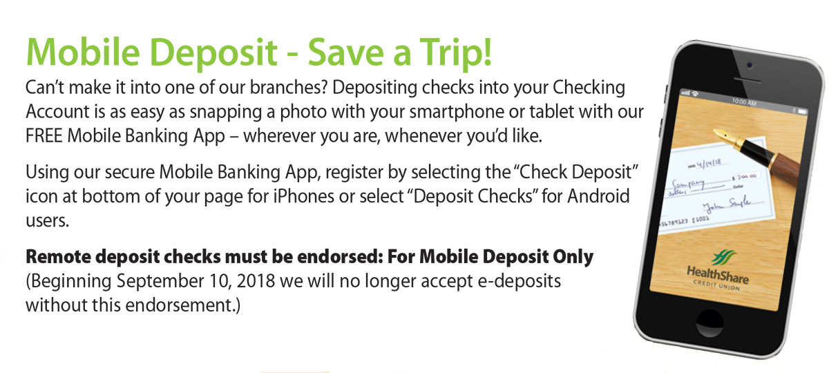 Depositing checks into your Checking Account is as easy as snapping a photo